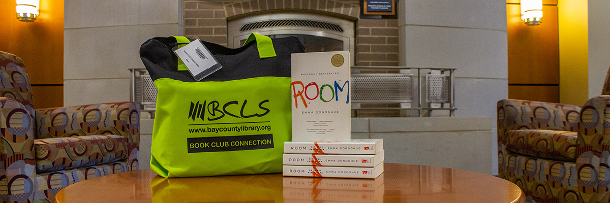 "Book Club Connection image showing a BCLS Book Club Connection tote with several copies of the novel ""Room"""