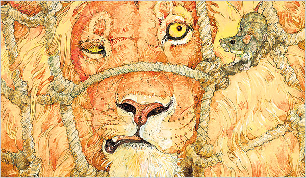 page from The Lion and the Mouse by Jerry Pinkney