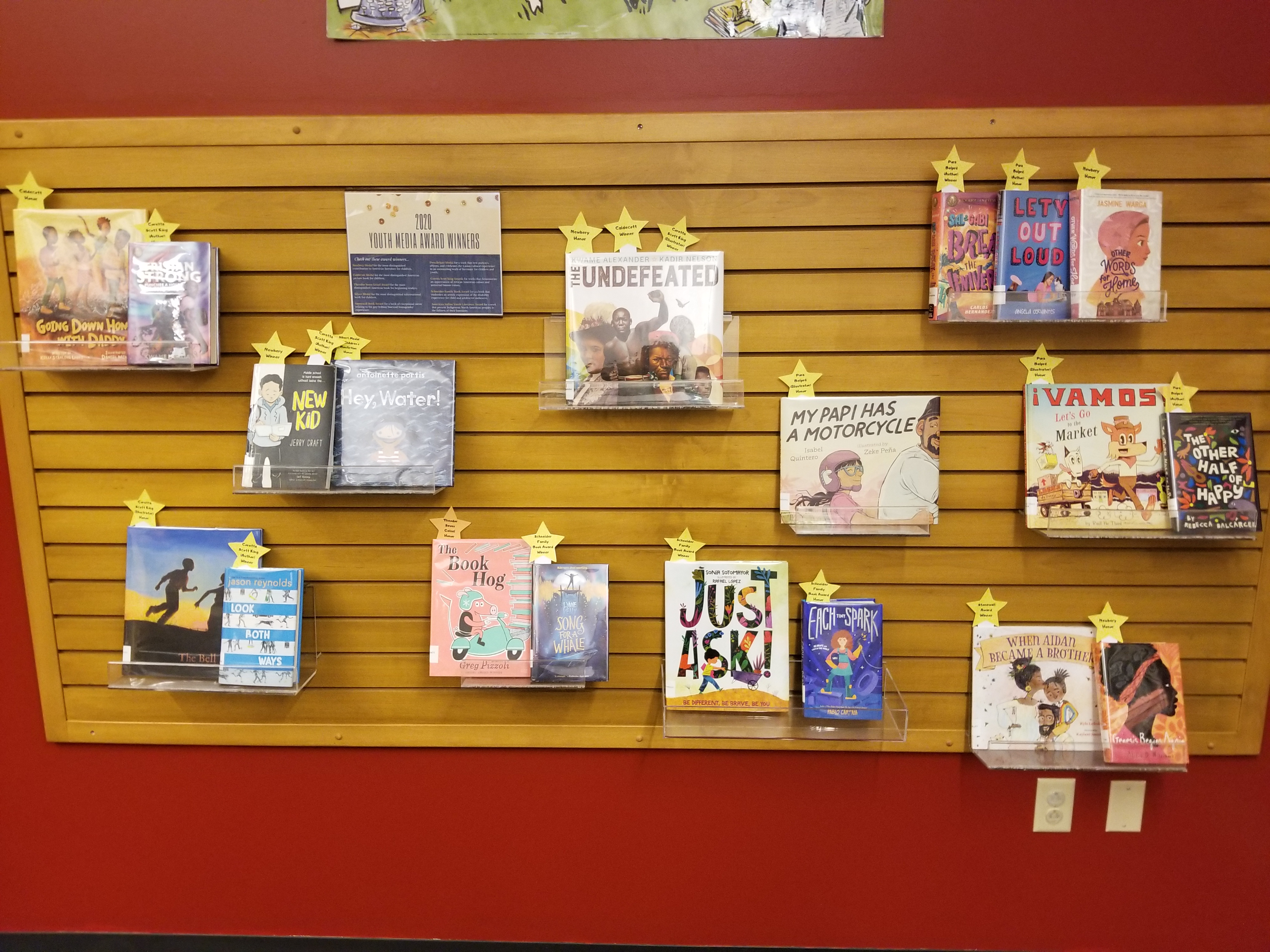 book display of the Youth Media Award winners 2020