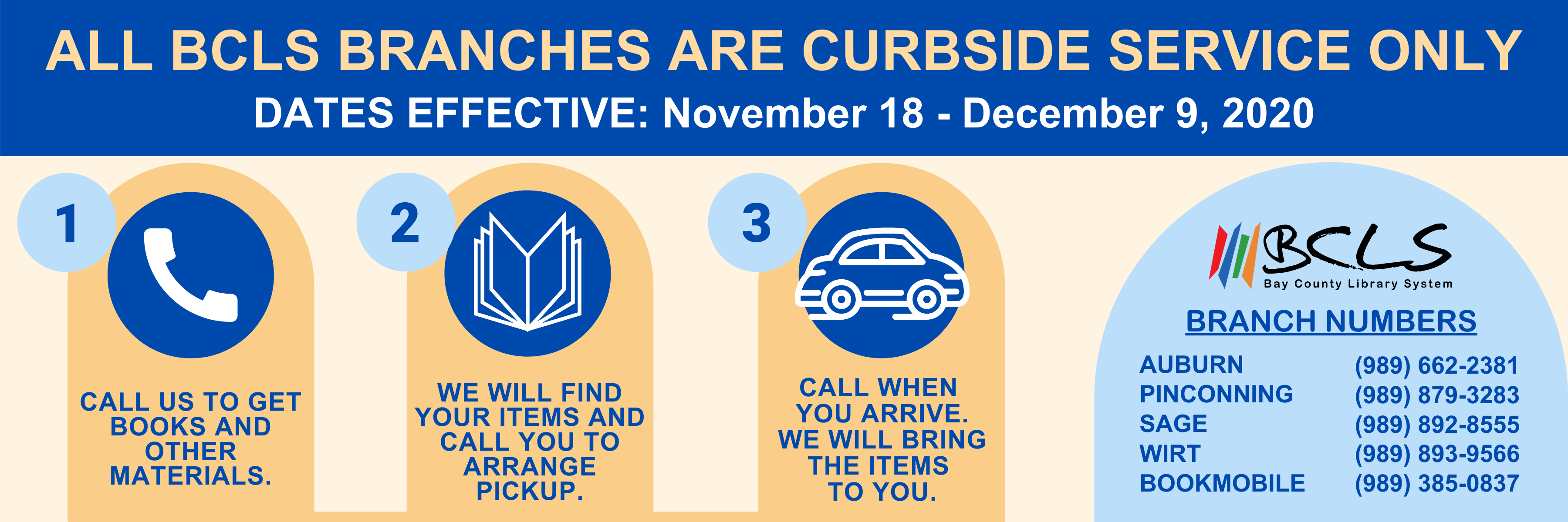 Curbside service only Nov 18-Dec 9, 2020