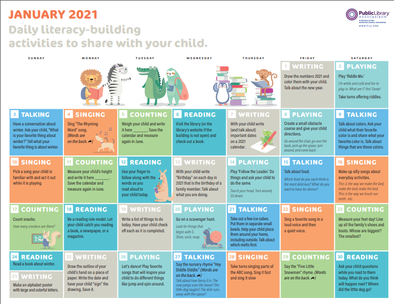 early literacy calendar sample page