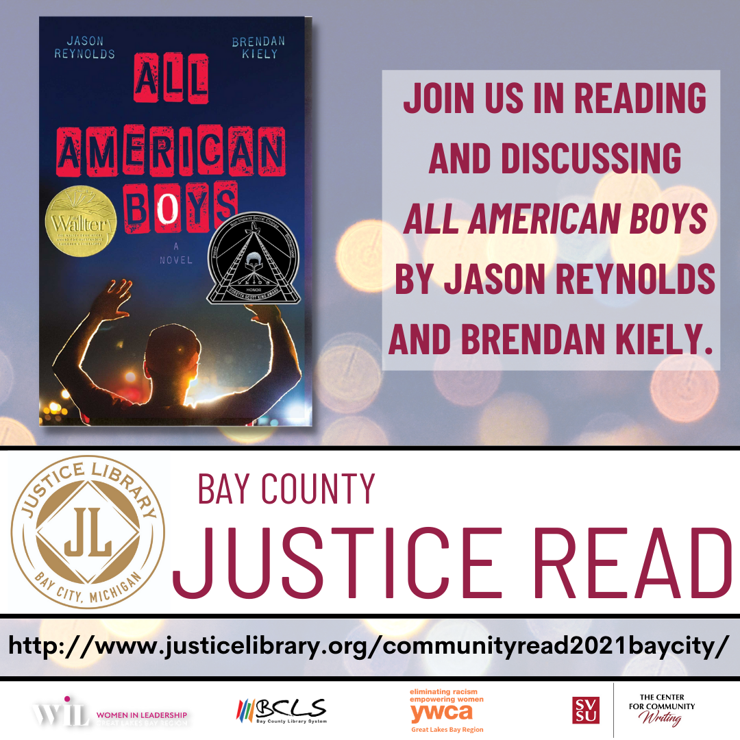 Join us in Reading and Discussing All American Boys by Jason Reynolds and Brendan Kieley with the Justice Read Logo and the Cover of the Book
