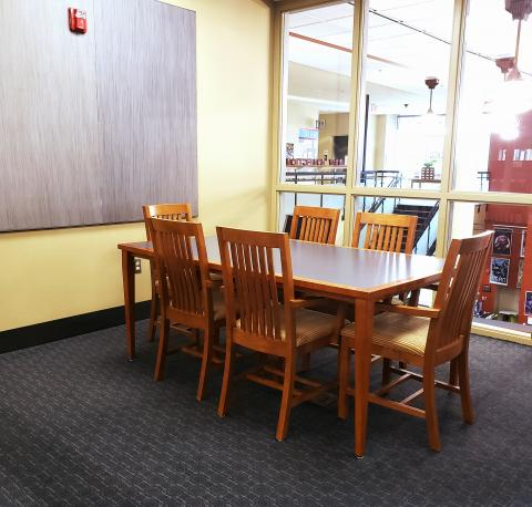 Interior shot of Wirt Study Room #1 with table and five chairs