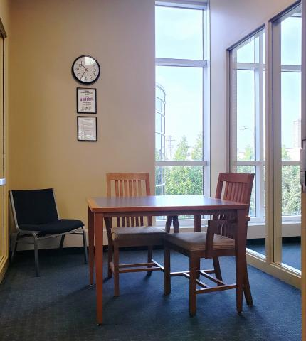 Wirt study room 3 with a table and three chairs