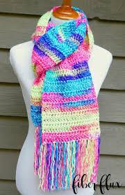 A crocheted colorful scarf,