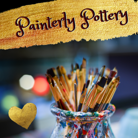 "Photo of Paintbrushes with Text ""Painterly Pottery"""