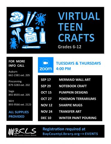 Image for virtual teen craft flyer